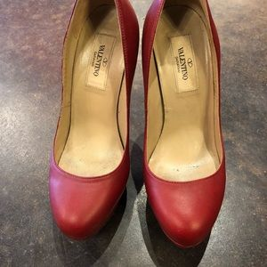 "Valentino Shoes - Valentino distressed red leather 5"" heels 35"
